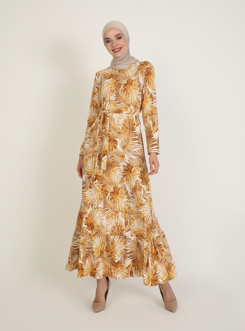 ECESUN Hardal Desenli Elbise