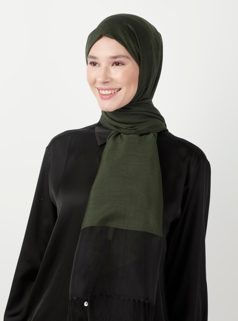 Soft Scarfs Haki Tüllü Elegans Şal