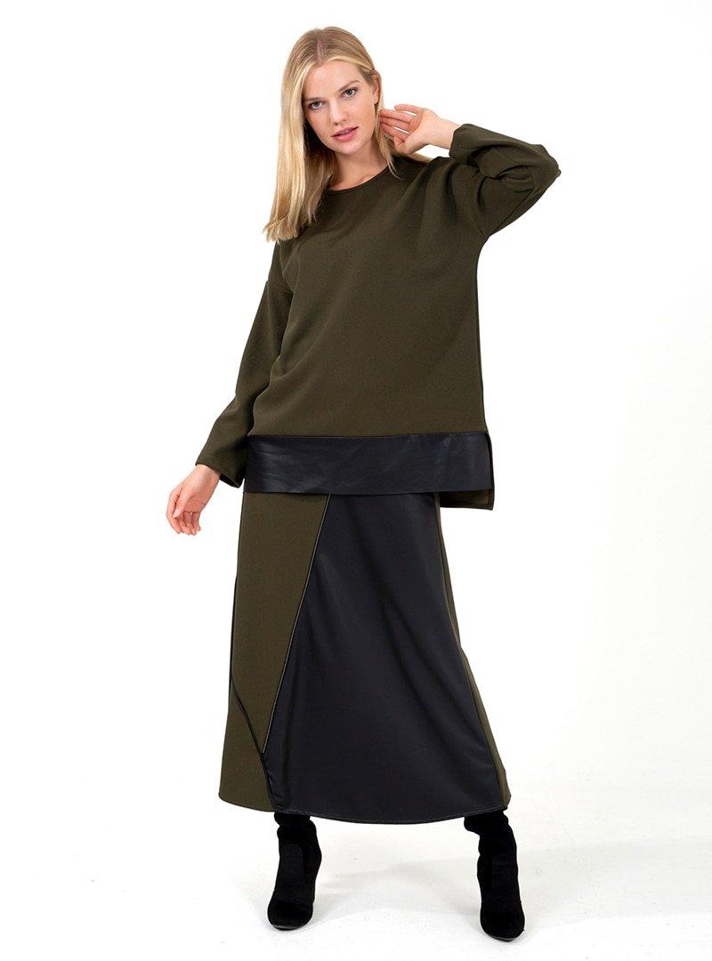 ONX10 Haki Fermuar Detaylı Deri Garnili Tunik & Etek İkili Takım