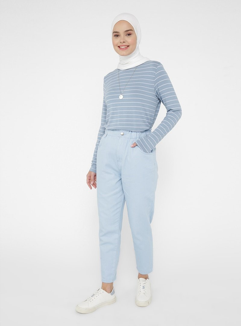 Benin Mavi Beli Lastikli Havuç Form Kot Pantolon