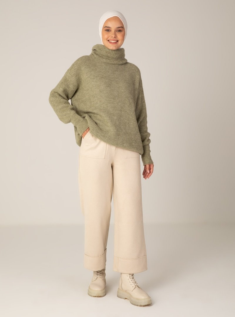 Mayın Jeans Manche Bej Süet Pantolon