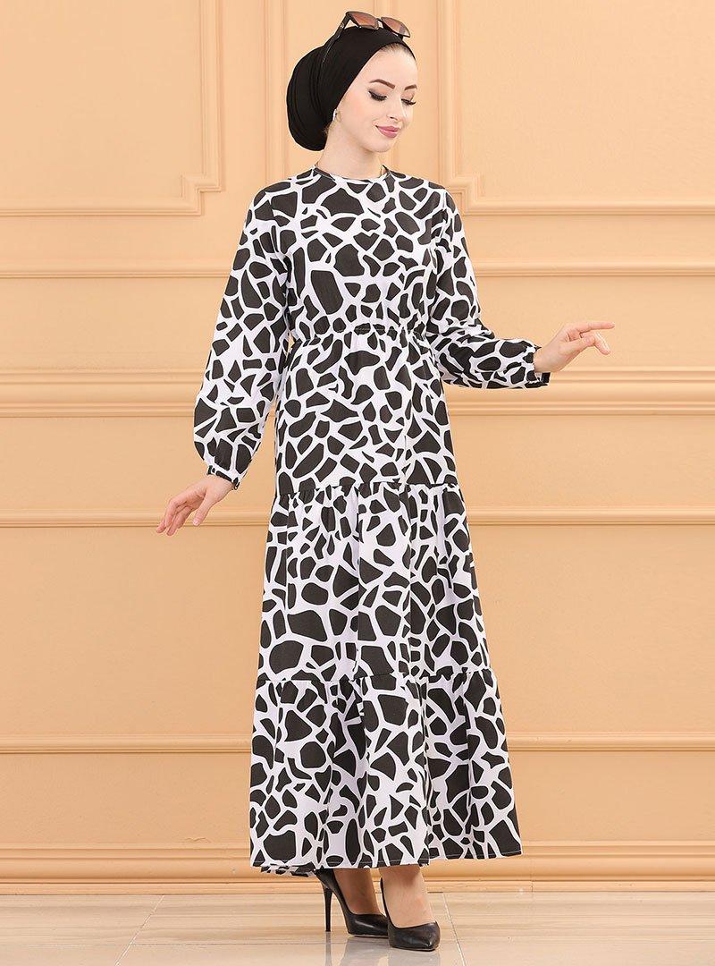 Tofisa Siyah Desenli Elbise