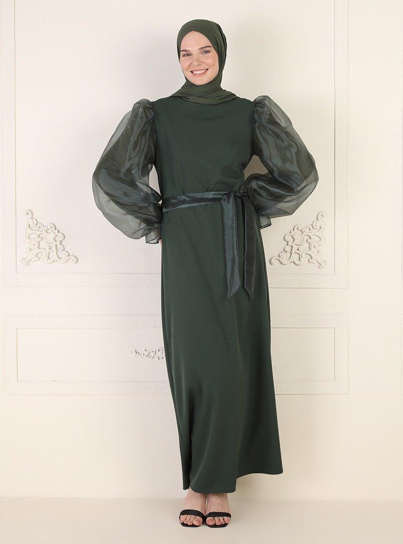 Ziwoman Yeşil Tül Detaylı Abiye Elbise
