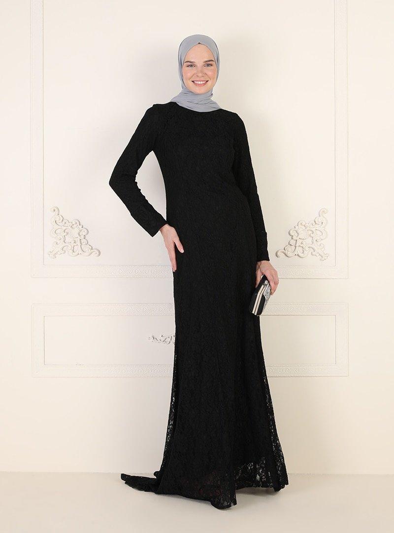 ENSANUR MODA Siyah Brit Detaylı Abiye Elbise