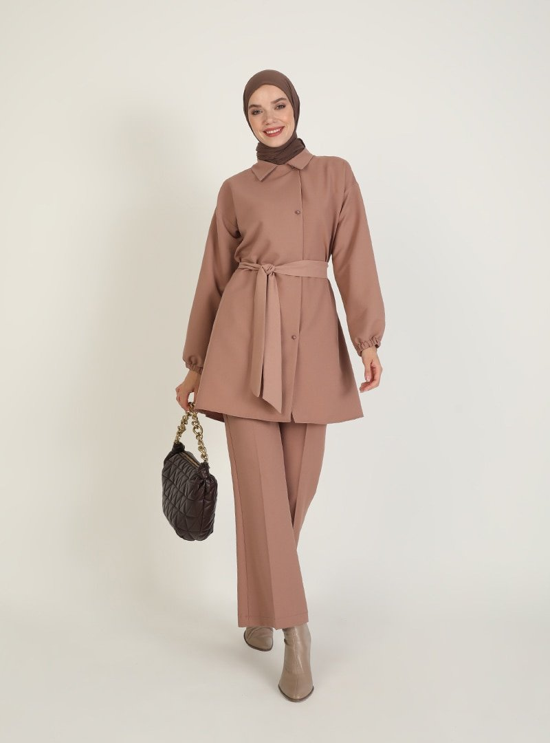 Ziwoman Açık Kahverengi Tunik & Pantolon İkili Takım