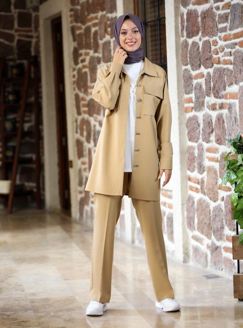 SEMRA AYDIN Camel Kübra Ceket & Pantolon İkili Takım