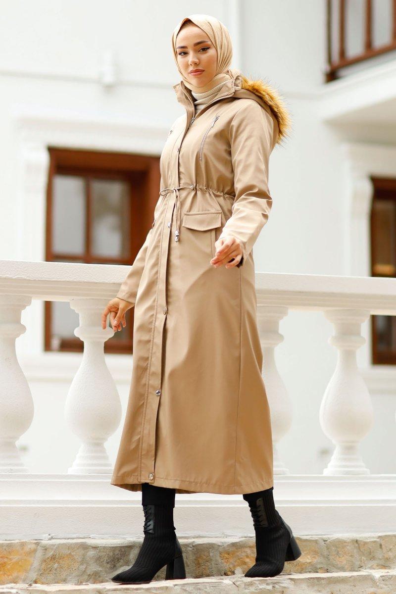 In Style Bej Önü Fermuarlı Kürklü Uzun Kaban