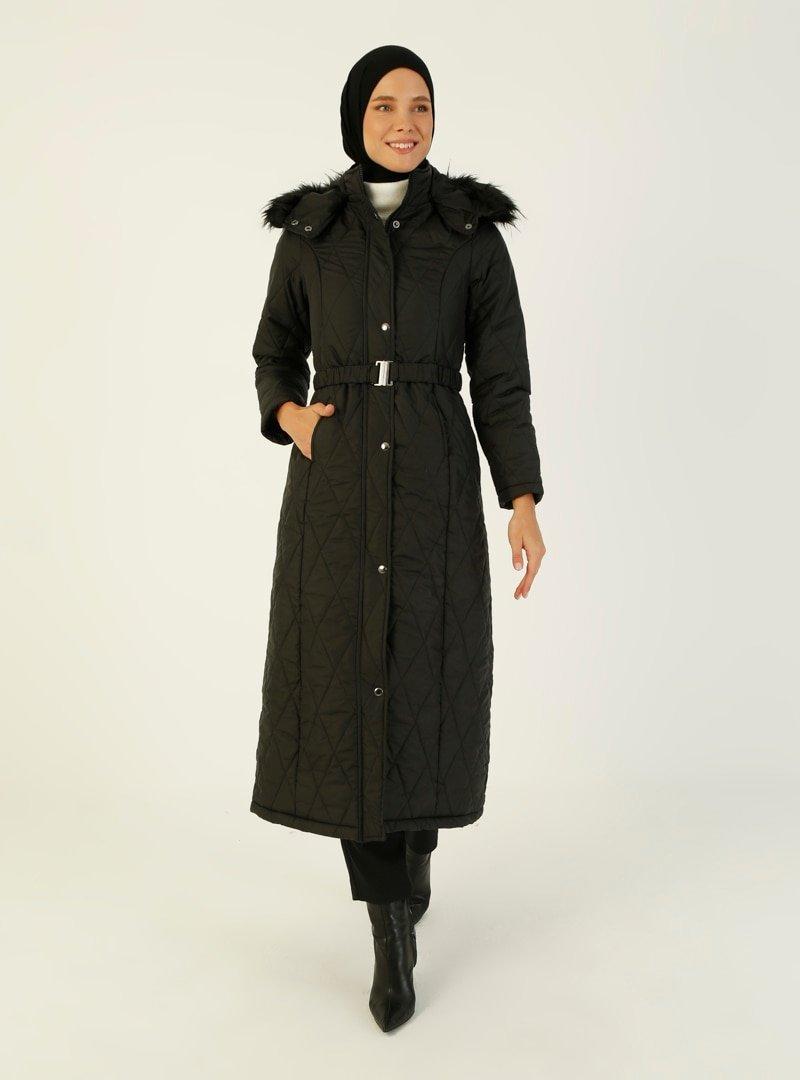 Night Blue Collection Siyah Şapkası Kürk Detaylı Mont