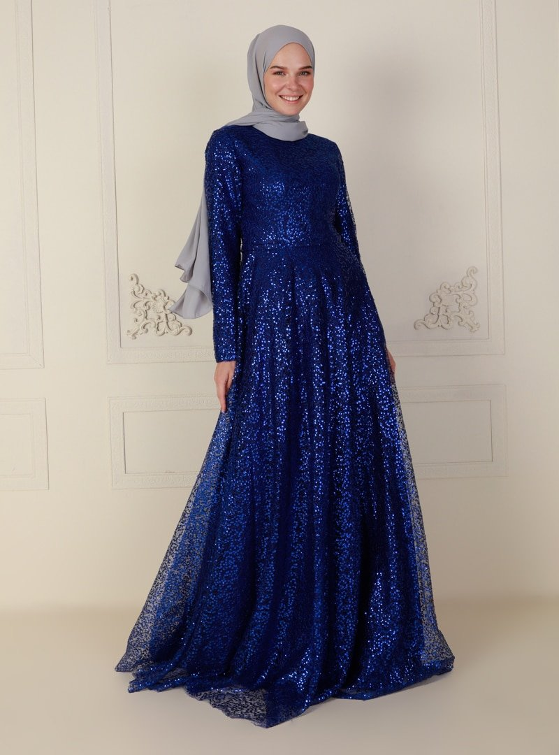 Mileny Saks Ağ Desen Kumaş Abiye Elbise