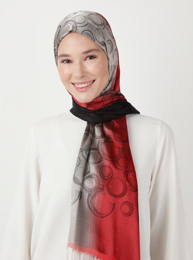 Soft Scarfs Siyah Bordo Batikli Şal