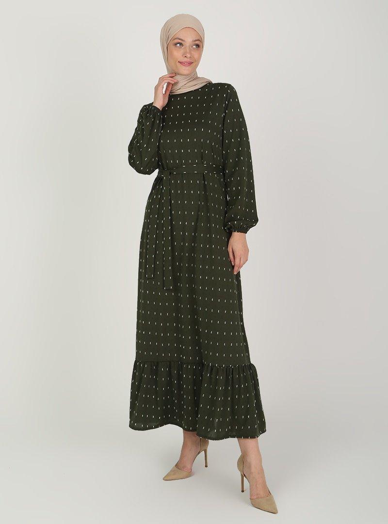ECESUN Haki Kol Uçları Lastikli Elbise
