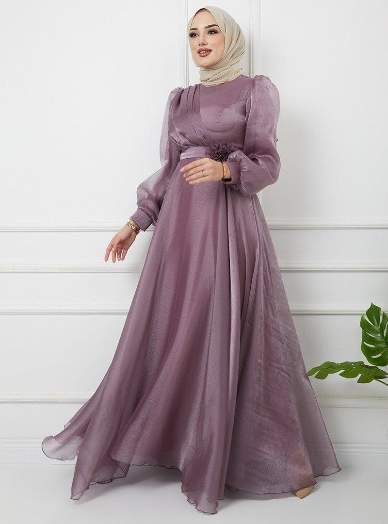 Olcay Lila Kemeri Çiçek Detaylı Simli Abiye Elbise