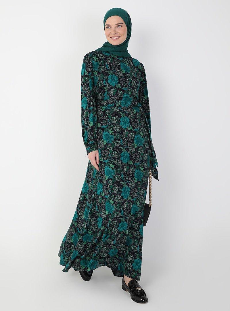 Ziwoman Lacivert Çiçek Desenli Elbise