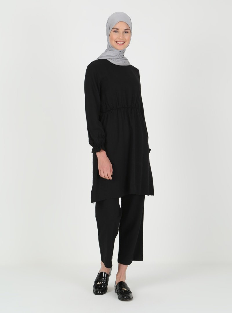 ENSANUR MODA Siyah Tunik & Pantolon İkili Takım