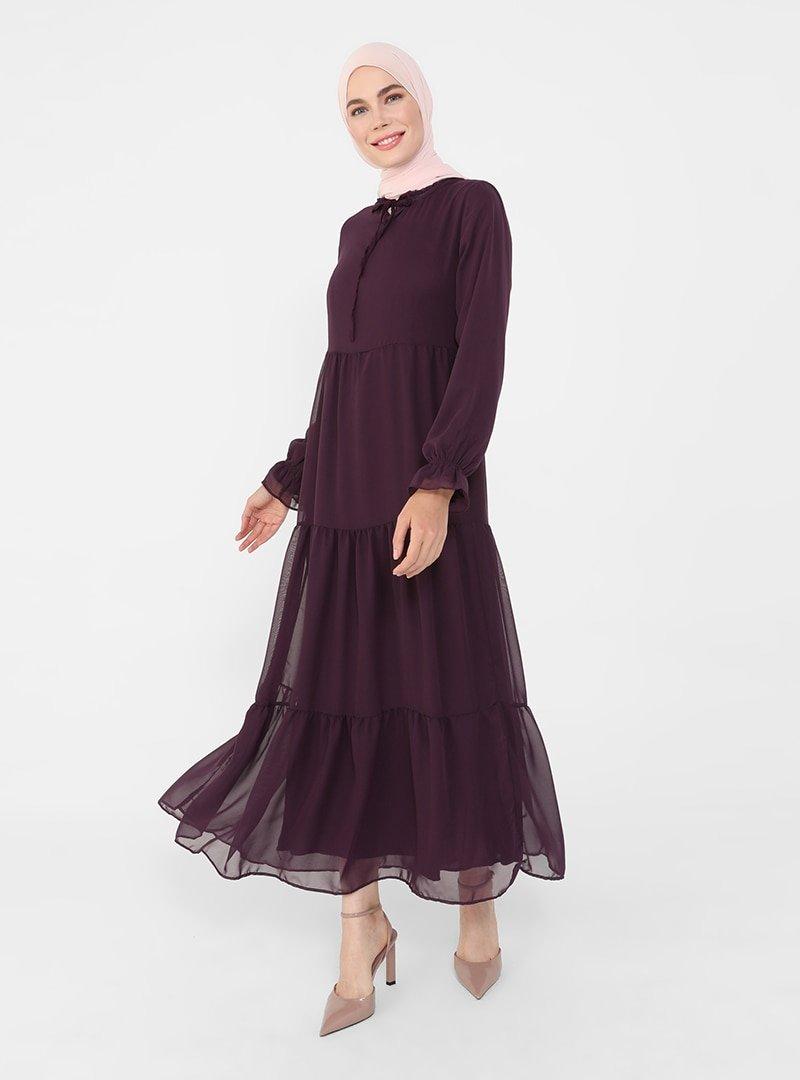 Refka Mor Yakası Bağlamalı Rahat Kesim Şifon Elbise