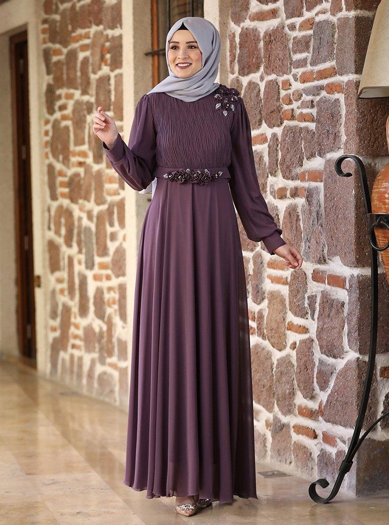 Amine Hüma Lavanta Defne Abiye Elbise