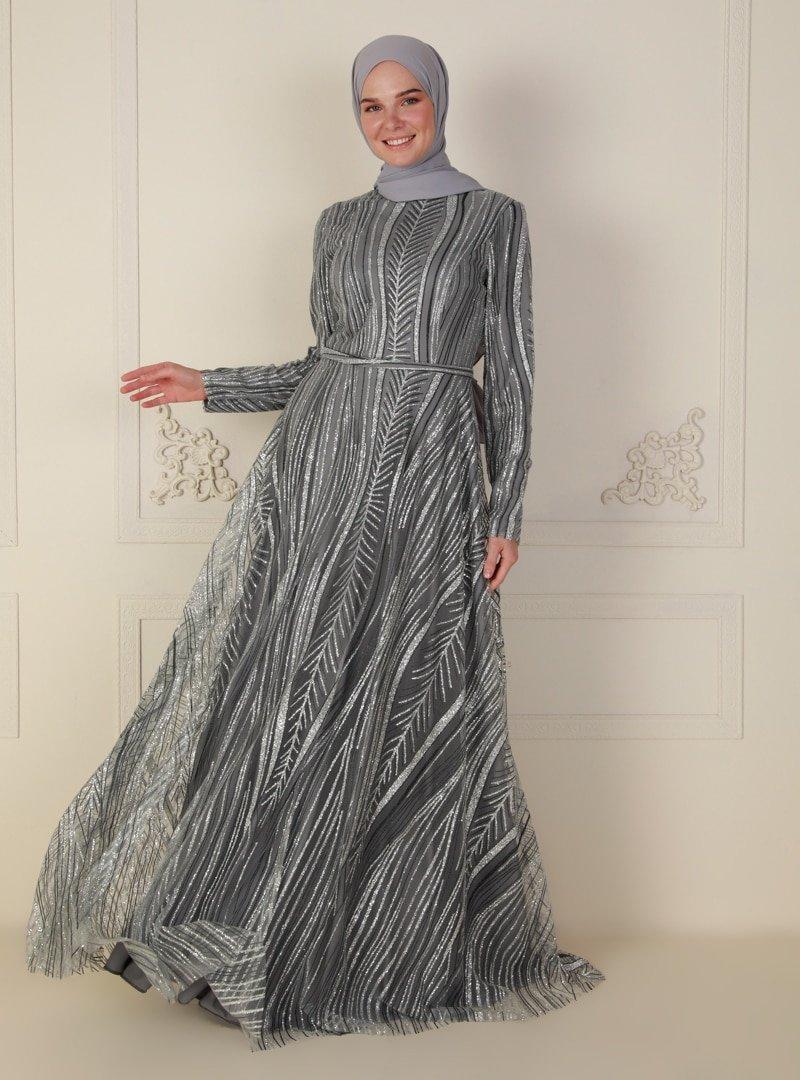 Mileny Gri Simli Uzun Abiye Elbise