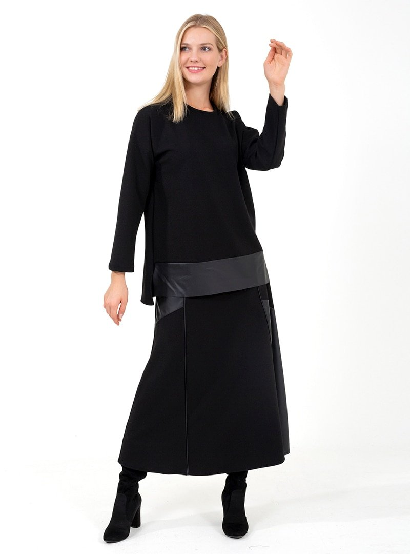 ONX10 Siyah Deri Garnili Tunik & Etek İkili Takım