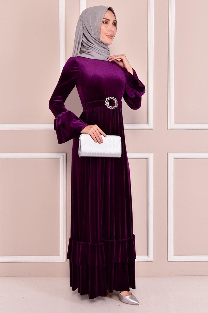 Moda Merve Mürdüm Kemerli Kadife Elbise