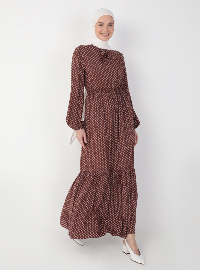 Ziwoman Taba Çiçek Desenli Elbise