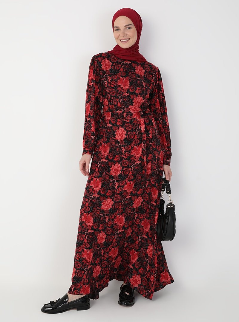 Ziwoman Siyah Çiçek Desenli Elbise