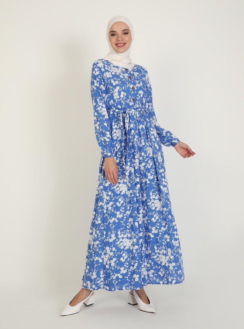 ECESUN Mavi Çiçek Desenli Elbise