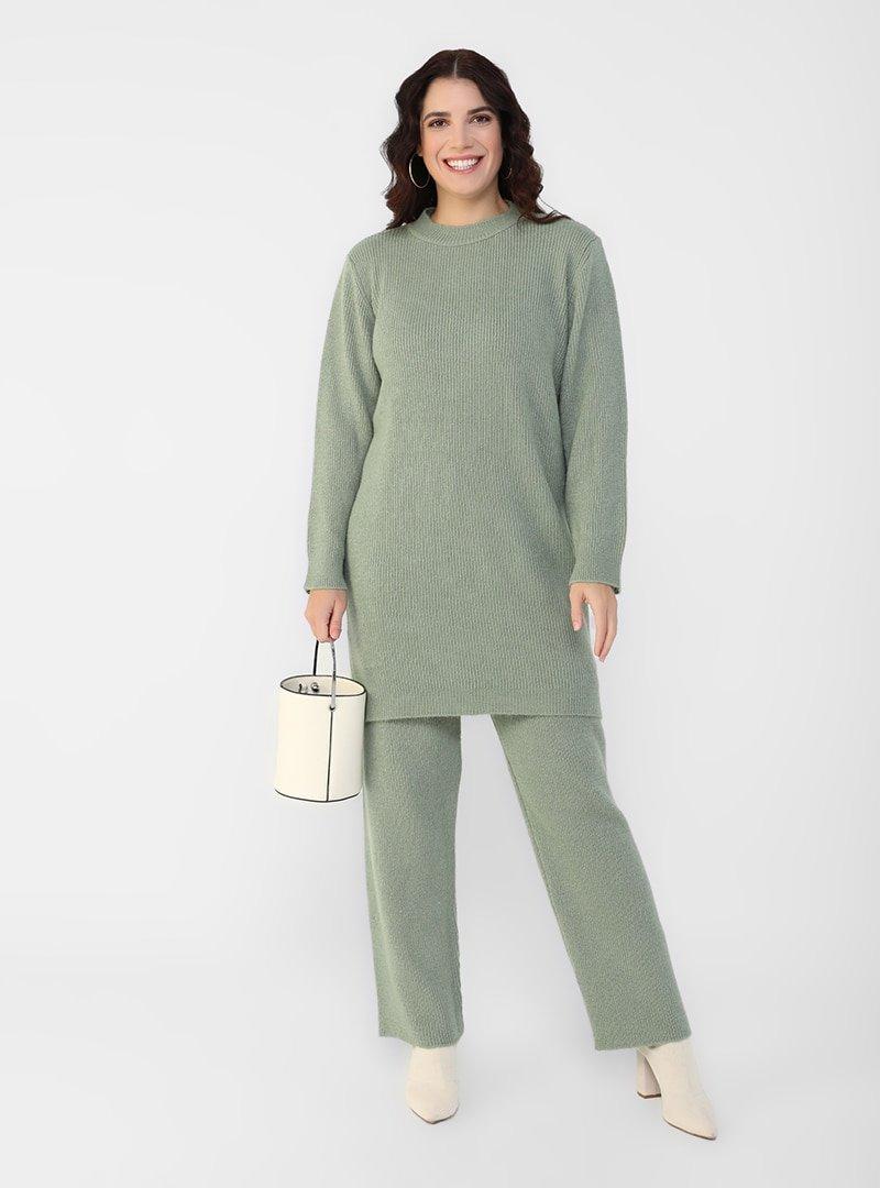 Alia Su Yeşili Büyük Beden Triko Tunik & Pantolon İkili Takım