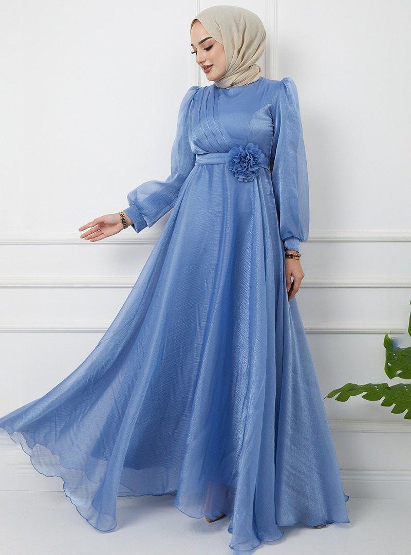 Olcay Mavi Kemeri Çiçek Detaylı Simli Abiye Elbise