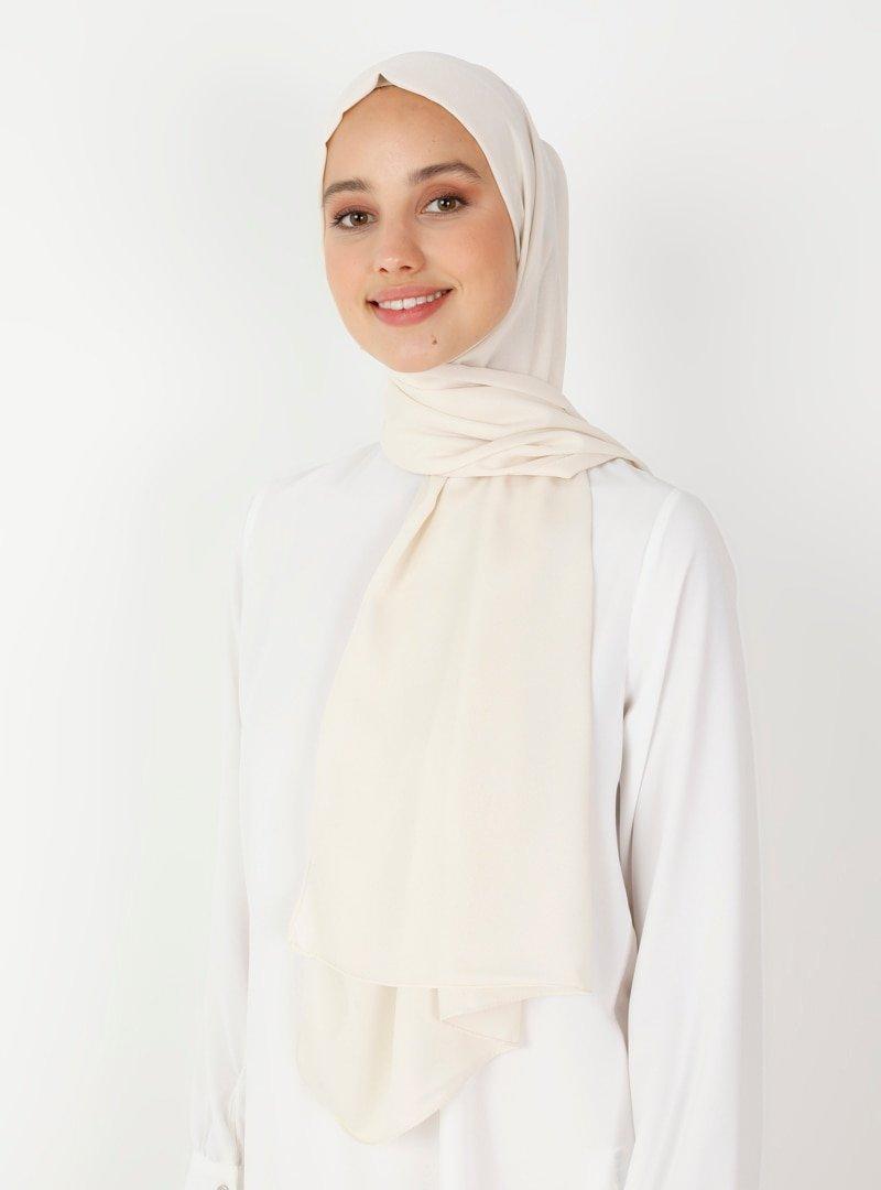 Balse Eşarp Kırık Beyaz Simli Medine İpeği Şal