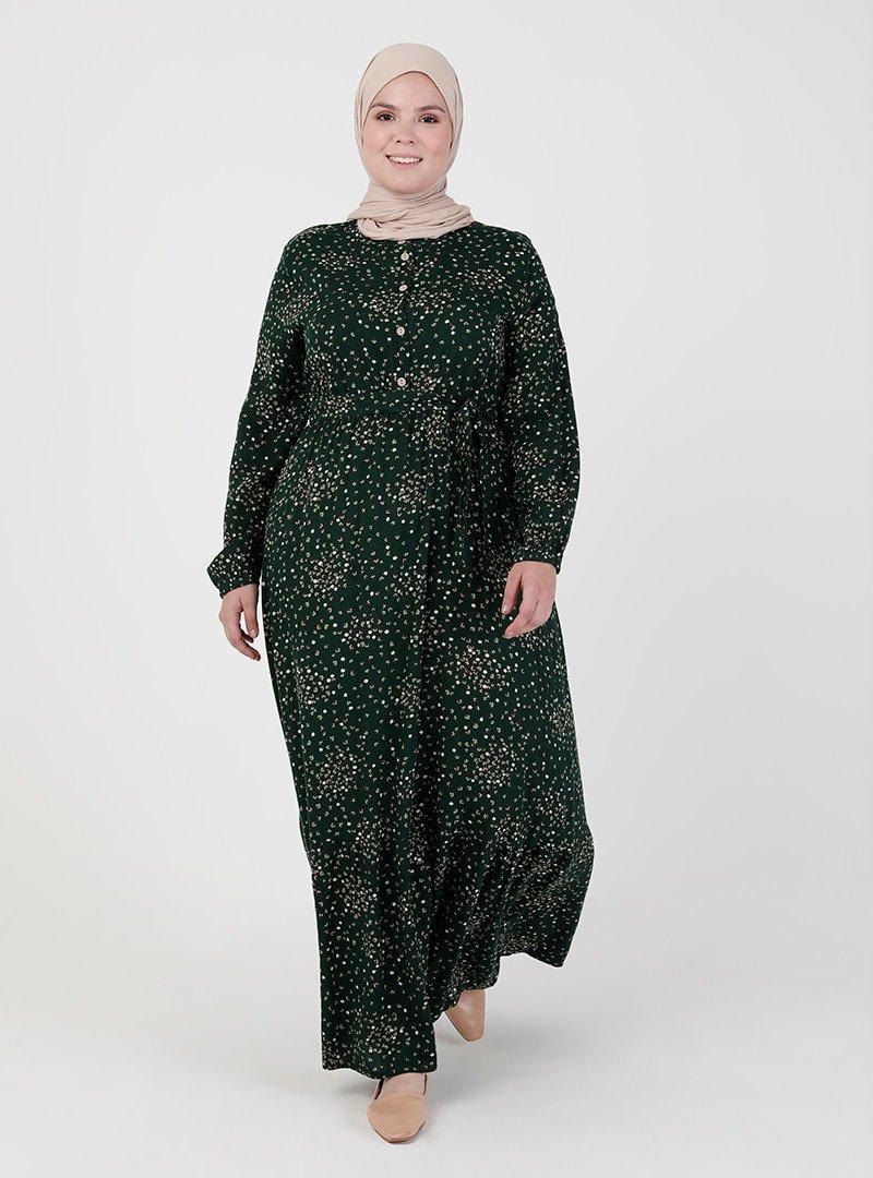 ZENANE Zümrüt Beli Lastikli Desenli Elbise