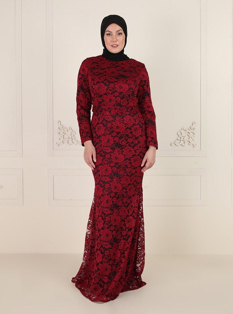 Mileny Bordo Dantelli Abiye Elbise