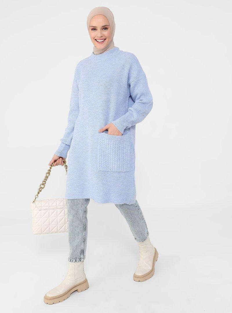 Refka Mavi Cep Detaylı Triko Tunik