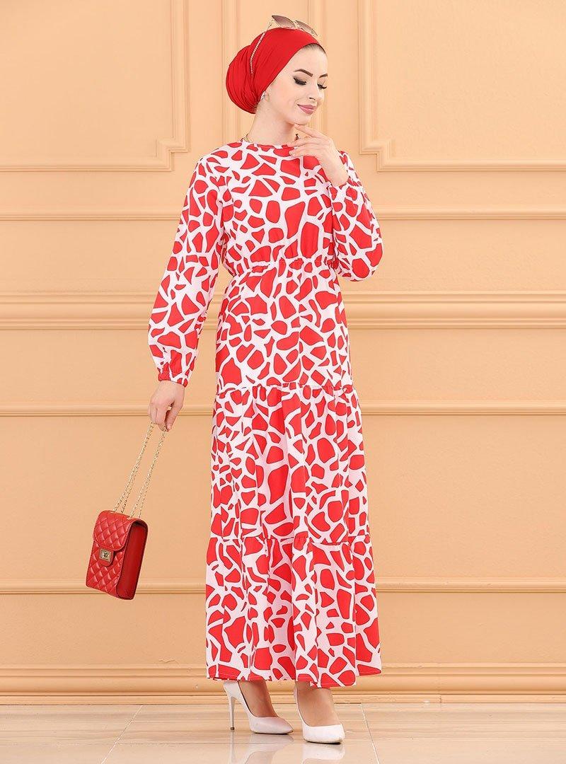 Tofisa Kırmızı Desenli Elbise