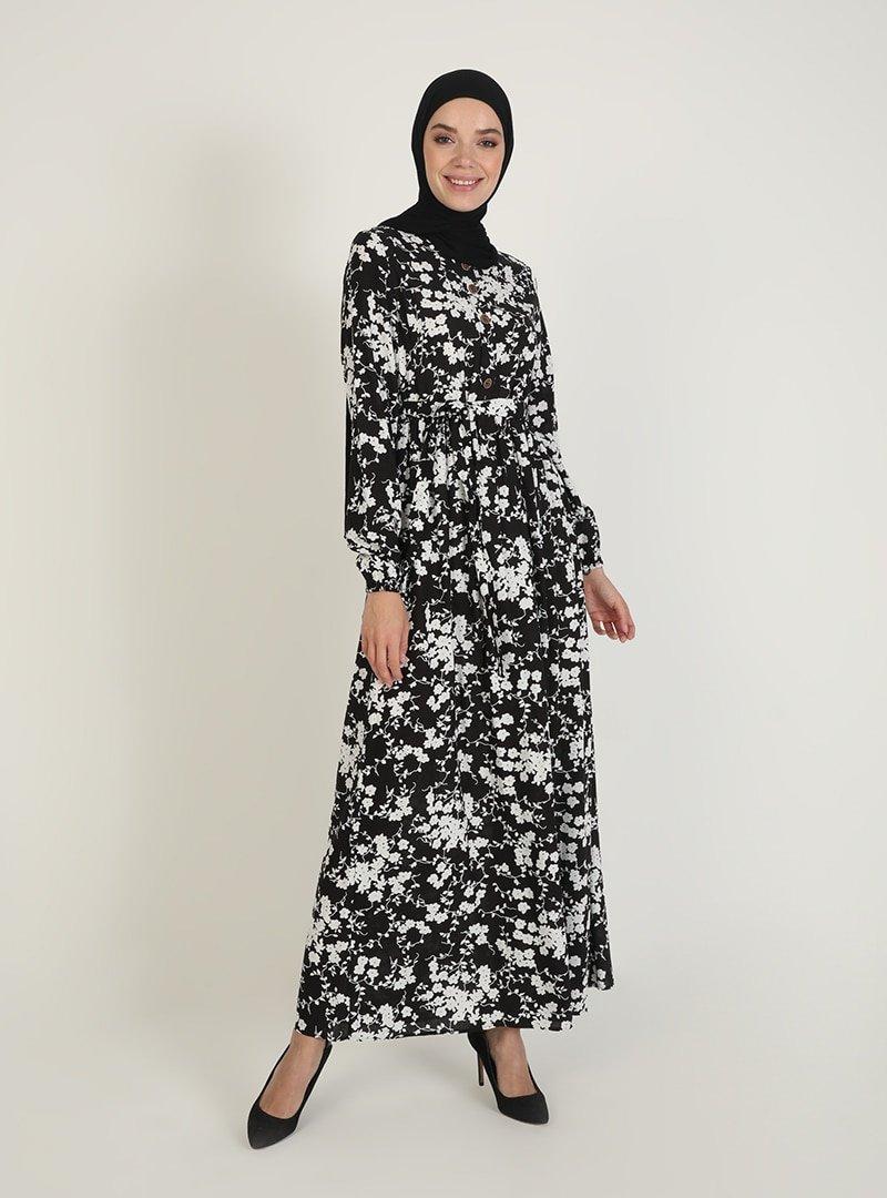 ECESUN Siyah Çiçek Desenli Elbise