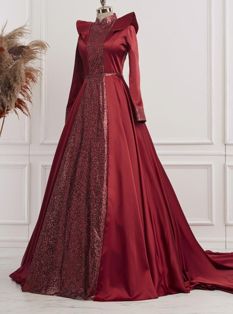 Gamze Özkul Bordo Sultan Abiye Elbise