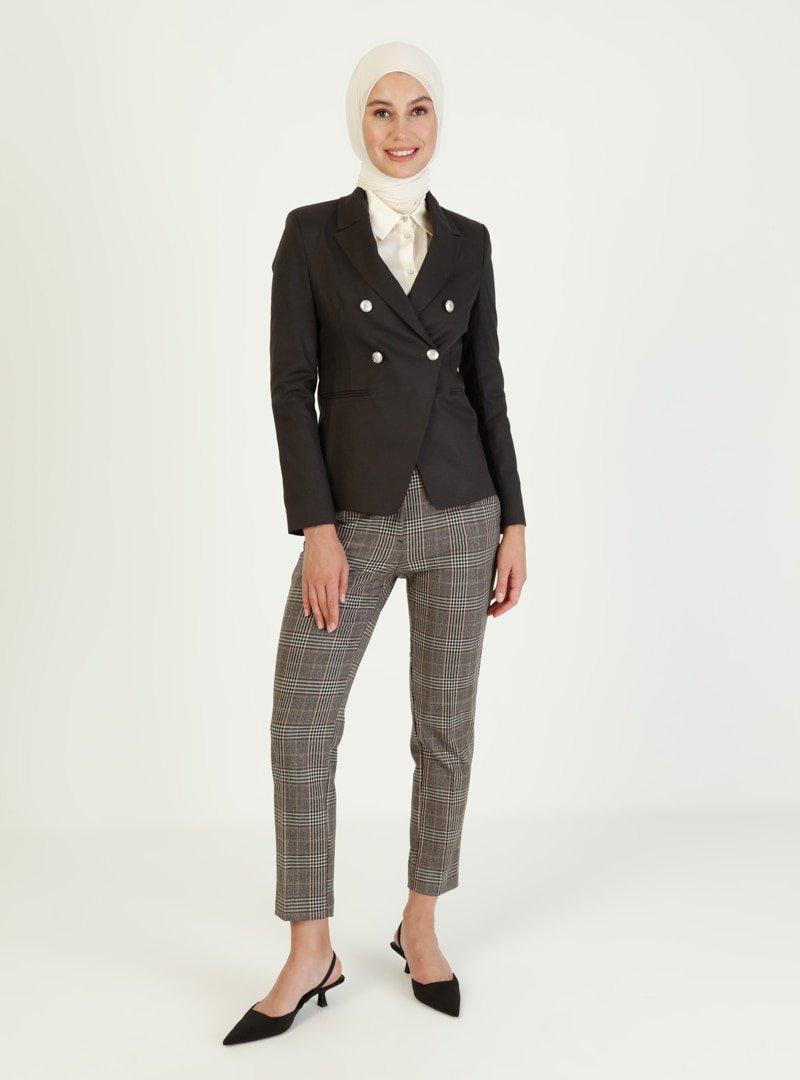 Ziwoman Siyah Düğme Detaylı Blazer Ceket