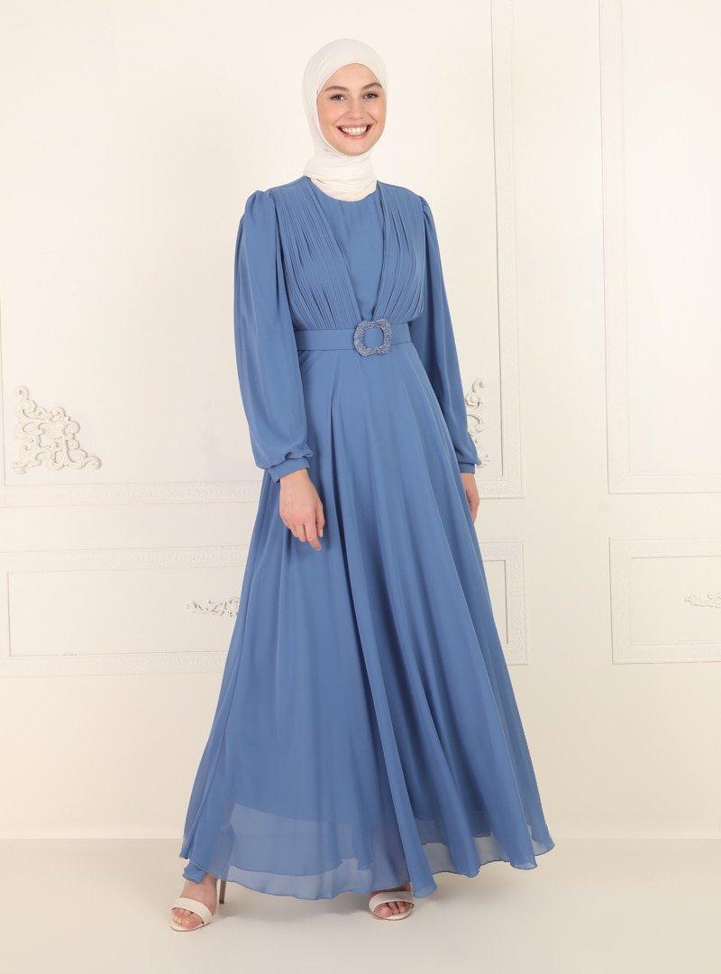 Amine Hüma İndigo Kemer Detaylı Abiye Elbise