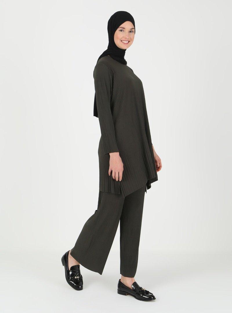 İLMEK TRİKO Haki Tunik & Pantolon İkili Takım