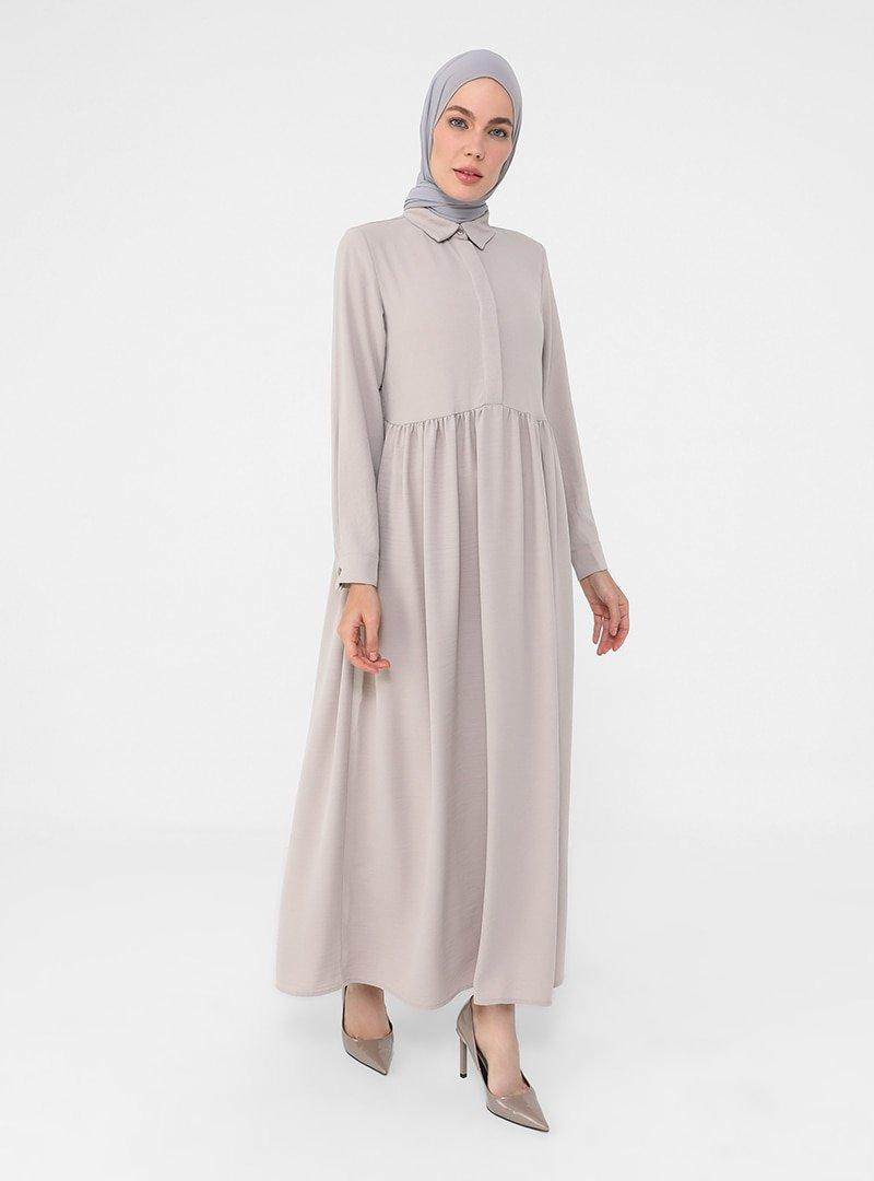 Refka Taş Yarım Patlı Aerobin Gömlek Elbise
