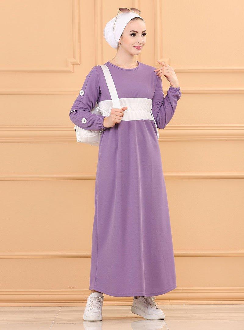 Tofisa Lila Beli Büzgülü Elbise