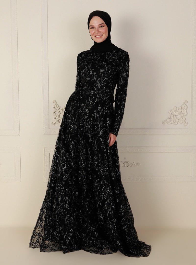 Mileny Siyah Simli Uzun Kol Abiye Elbise