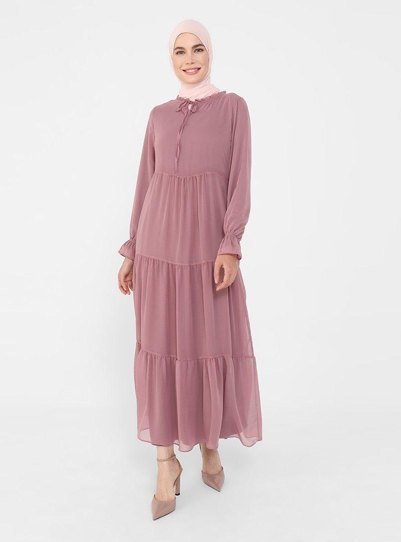 Refka Mürdüm Yakası Bağlamalı Rahat Kesim Şifon Elbise