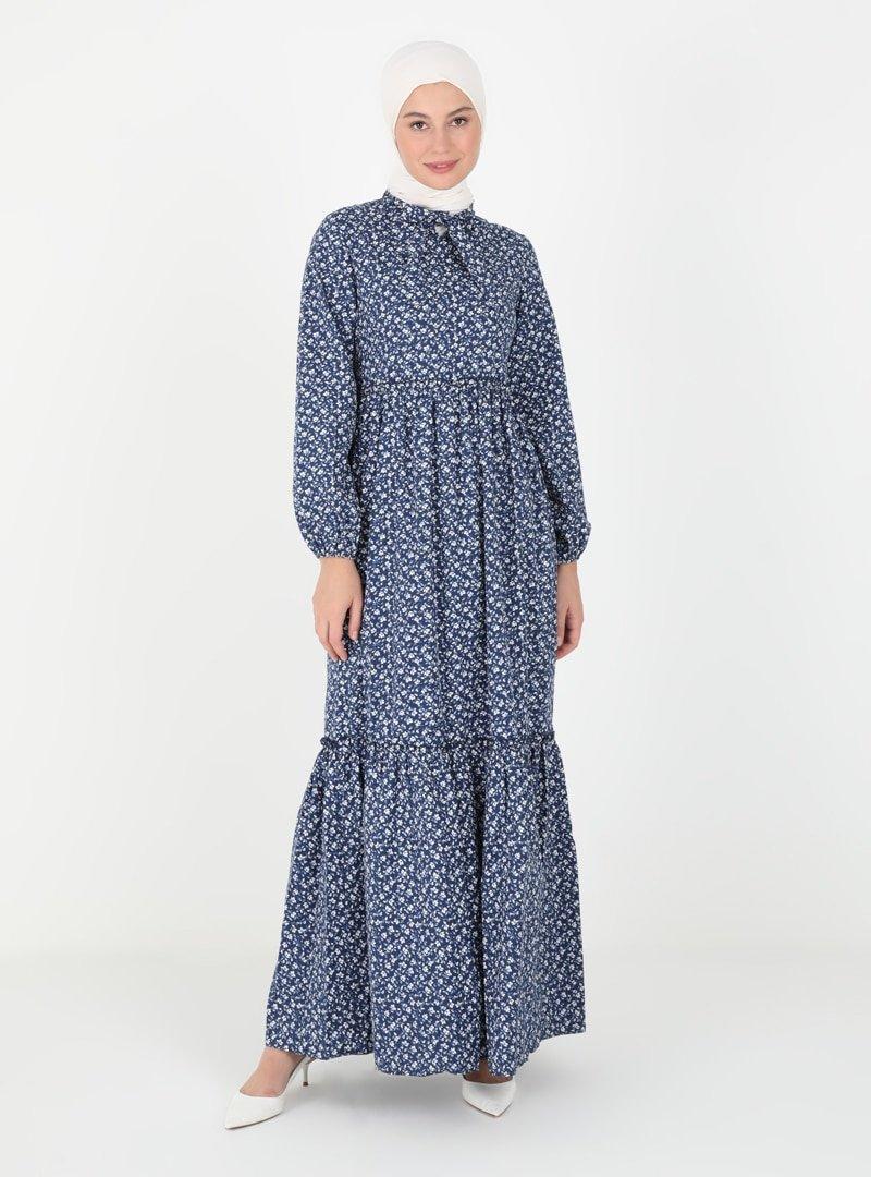 Ziwoman Lacivert Pamuk Elbise