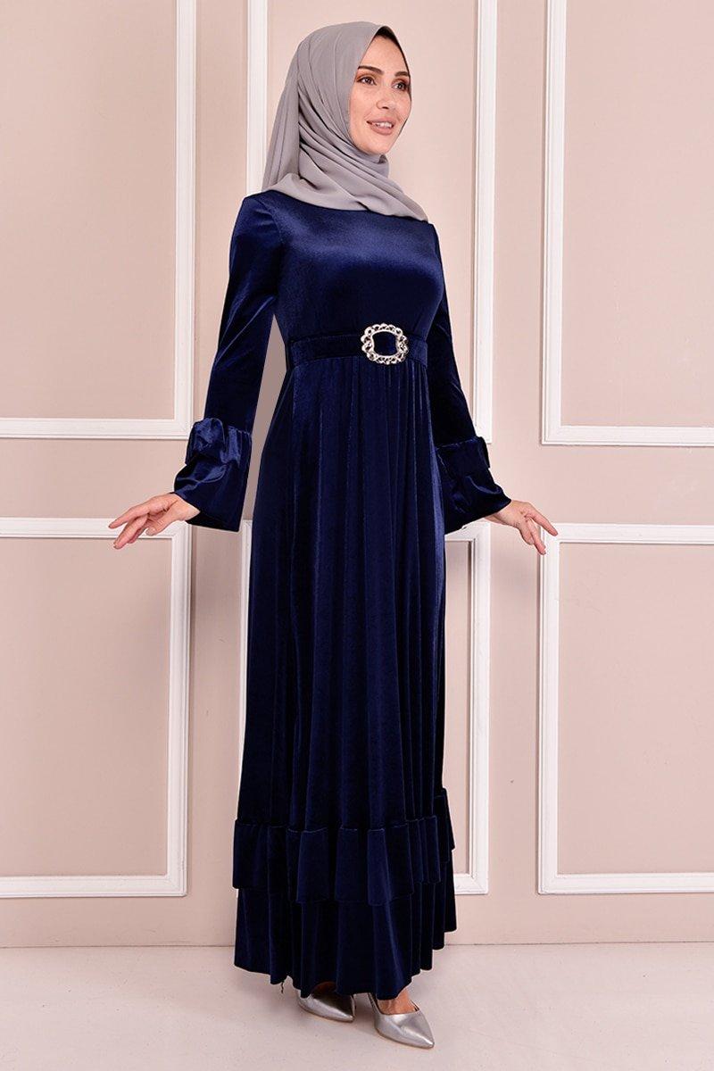 Moda Merve Lacivert Kemerli Kadife Elbise