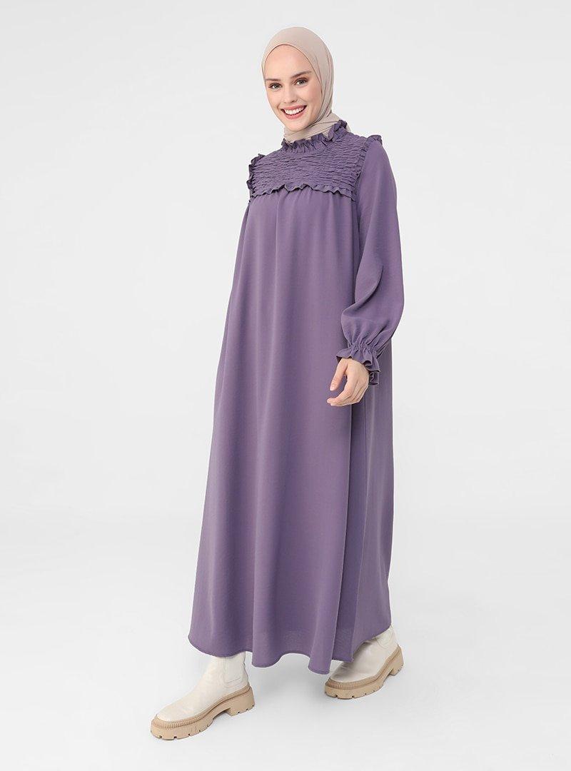 Refka Vintage Mor Gipe Ve Fırfır Detaylı Aerobin Elbise