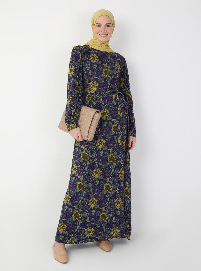 Ziwoman Mor Çiçek Desenli Elbise