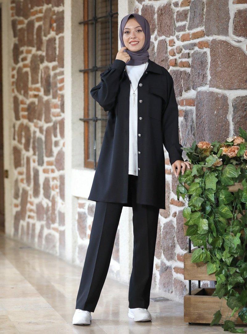 SEMRA AYDIN Siyah Kübra Ceket & Pantolon İkili Takım
