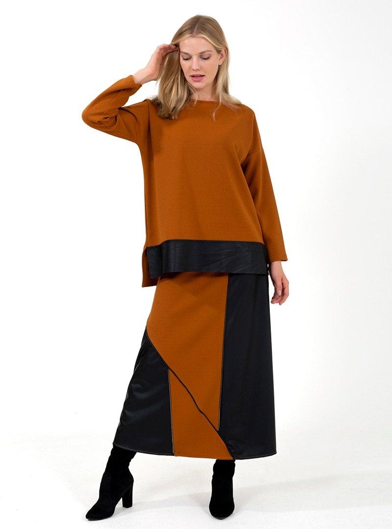ONX10 Taba Fermuar Detaylı Deri Garnili Tunik & Etek İkili Takım