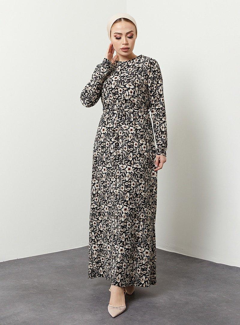 MODAEFA Siyah Çiçek Desenli Elbise