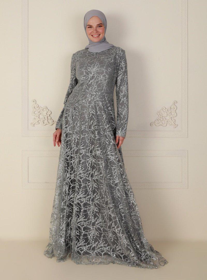 Mileny Gri Simli Uzun Kol Abiye Elbise